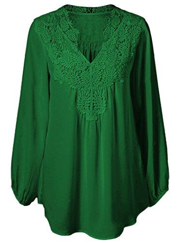 Women Plus Size Casual Chiffon Lace Stitching Blouse Tops Green 3XL (Plus Size Women Clothing)