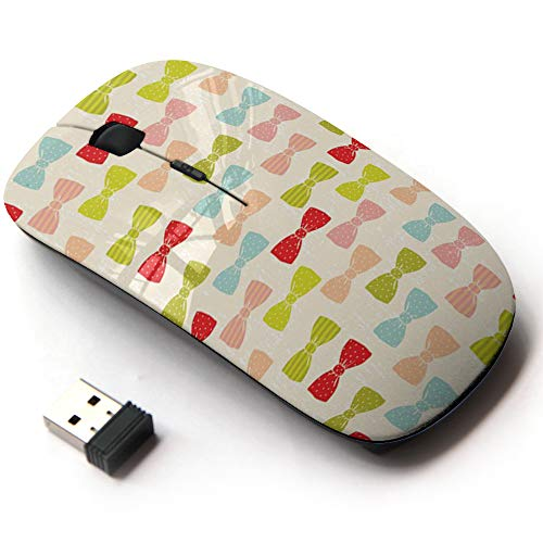 Ergonomic Optical 2.4G Wireless Mouse with Printed Patterns for All Laptops & Desktops - Bow Ties