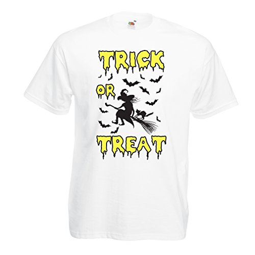 lepni.me T Shirts for Men Trick or Treat - Halloween Witch - Party outfites - Scary Costume (X-Large White Multi -