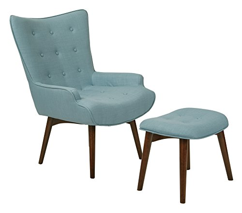 Capri Ottoman - AVE SIX Dalton Tufted Back Chair with Solid Wood Legs and Matching Ottoman, Milford Capri