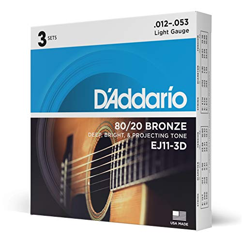 DAddario EJ11-3D 80/20 Bronze Acoustic Guitar Strings, 12-53, 3 Sets, Light