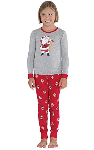PajamaGram St. Nick Santa Print Cotton Jersey Big Girl's Pajamas, Red, 12