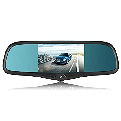 """AUTO-VOX 5"""" Capacitive Touch Screen Rearview Mirror with GPS Navigation Vehicle Dashcam Bluetooth / FM / Mp3 & Mp4 Multimedia Support Backup Camera include Original Style Bracket for Ford F-Series pickup Silverado Chevrolet Silverado and ect. from The Rea"""
