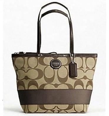 Amazon.com  Coach Signature Stripe Shopper Bag Tote Khaki Mahogany - Coach  17433KHA  Shoes 1d650367beb89