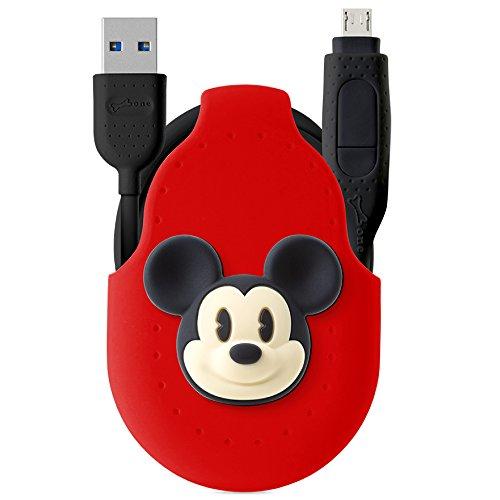 Disney공식 라이센스 2in1 USB 케이블 Type C Micro USB 감음 잡기 【USB 3.0 3.0A 급속 충전 1M 코드 홀더 부착 실리콘 고속 데이터 전송 귀여운 디즈니 캐릭터 버튼 수납 편리 】 멋쟁이 선물 마이크로 케이블 Xperia Galaxy Zenfone Android 등대응/미키마우스(레드)