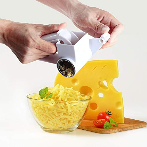 Xelparuc Hand Held Rotary Cheese Grater, Cheese Cutter Slicer with Sharp Stainless Steel Blades Drum Easy Clean, Parmesan Grater, Shredder Multifunction Can Cut Chocolate, Carrot, White