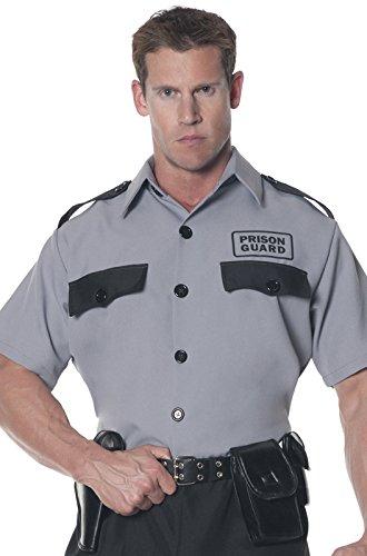 Prison Guard Costume (Underwraps Men's Plus-Size Prison Guard Shirt, Grey/Black, XX-Large)