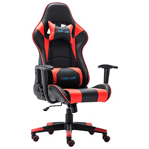 Storm Racer Erogonomic Gaming Chair Large Size Racing Style Computer Home Office Chair (Red,S)