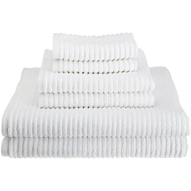 Kassatex 100-Percent Combed Extra Long Staple Turkish Cotton from our Urbane Collection 6-Piece Solid Towel Set, White
