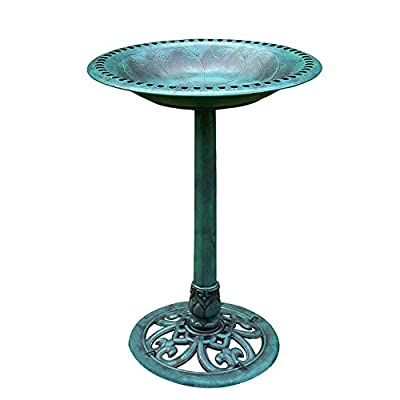 VIVOHOME Polyresin Outdoor Garden Bird Bath