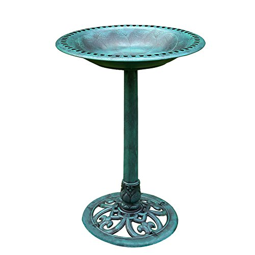 (VIVOHOME 28 Inch Height Polyresin Lightweight Antique Outdoor Garden Bird Bath Green)