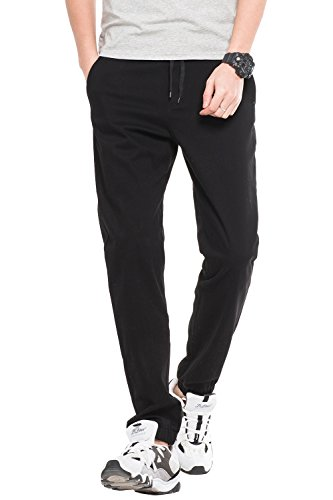 Cuff Dress Pants - INFLATION Men's Stretchy Casual Jogger Pants  Blend Combed Cotton Formal Elastic Waist Trousers Dress Pants Black US SIZE 2XL