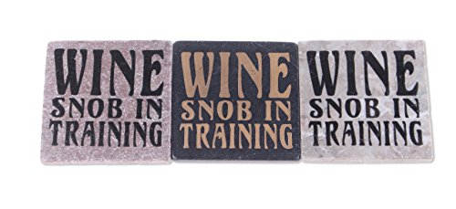 Blue Sky Ceramic Wine Snob in Training Stone Tile (3 Pack), 4 x 4 ()