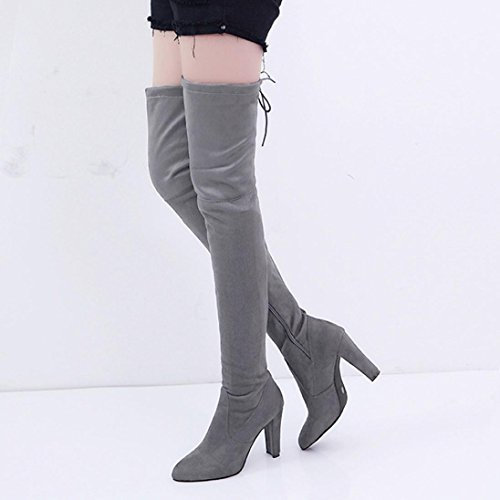Faux Stiefel Heels Slim Overknee Schuhe Grau High Hohe Stretch DEELIN Frauen Stiefel XxwCBB