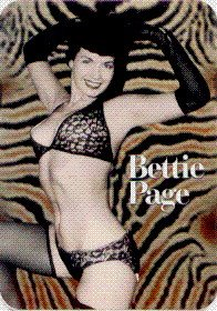 Square Deal Recordings and Supplies Bettie Page - In Black Bikini on Brown Zebra Print - Sticker/Decal (Betty ()