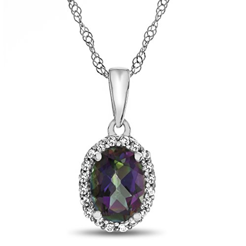 Gold Mystic Topaz Pendant - Finejewelers 10k White Gold 7x5mm Oval Mystic Topaz with White Topaz accent stones Halo Pendant Necklace
