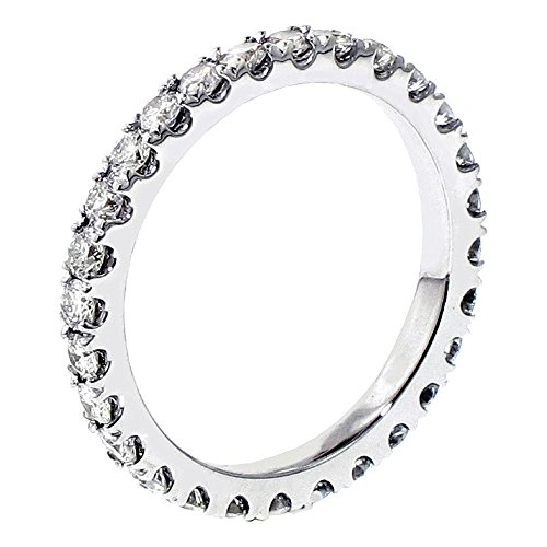 18k White Gold Pave Set Brilliant Cut Diamond Eternity Wedding Band (1.00-1.35 CT TDW)