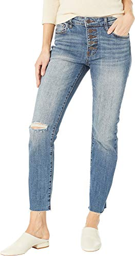 KUT from the Kloth Women's Reese Ise Ankle Straight Expo Bottom Jeans in Interested/Medium Base Wash Interested/Medium Base Wash 4 27