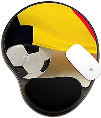 Luxlady Mousepad wrist protected Mouse Pads/Mat with wrist support design IMAGE ID: 34491378 Belgium flag and soccer ball on white backgrounds