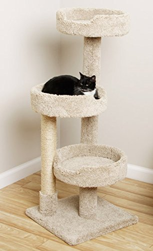 (CozyCatFurniture Window Size Kitty Tree Cat Tower with 3 Large Beds, Beige Carpet)