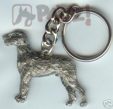 Irish Wolfhound Dog Fine Pewter Keychain Key Ring