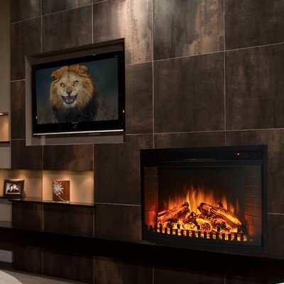 "Gibson Living Room Decor 33"" Curved Ventless Electric Space Heater Built-in Recessed Firebox Fireplace Insert"