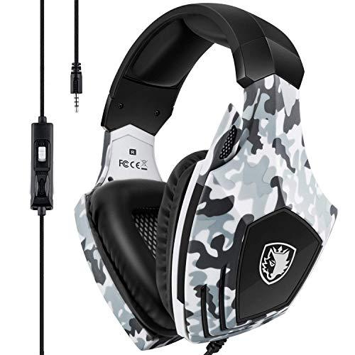 Xbox One Gaming Headset, SADES Stereo PC Gaming Headset con micrófono, cancelación de ruido en la oreja Auriculares para juegos con memoria suave Orejeras para Xbox one / PS4 / Laptop / Mac