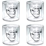 DSYJ Cup Skull Glasses Crystal Shot Cup 4 pcs Transparent