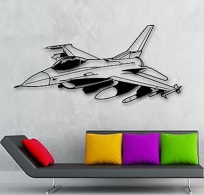 V-studios Wall Sticker Vinyl Decal Fighter Plane Jet Aircraft Military War Nursery VS850