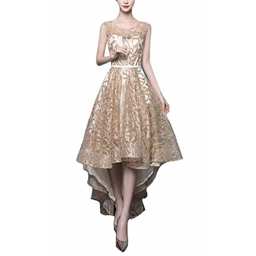 1fd08b313a Fanhao Women s Gold Gild Sashes Long Tail Short Evening Gown Cocktail Dress  free shipping