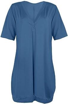 VEMOW Faldas Cortas Mujer Vestido sólido de Gran tamaño con Cuello ...