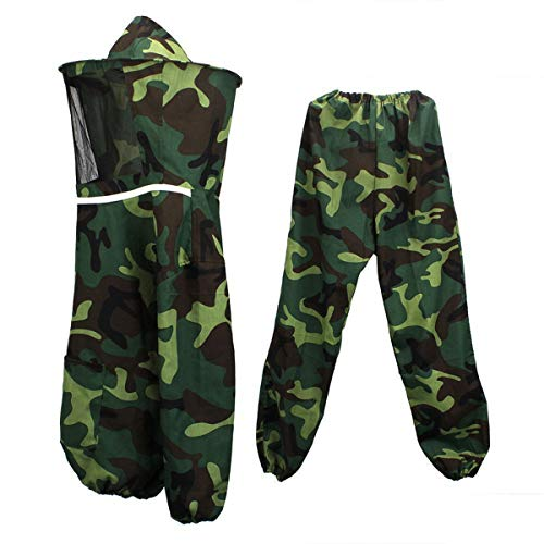 Fincos Camouflage Jacket Pants Veil Bee Protecting Hat Beekeeping Suit Protectivench