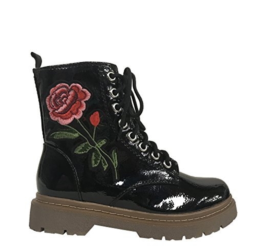 Boots Leatherette GERDA Patent Up Black Lace Rose Women's Embroidered Soda Combat q0vqRS
