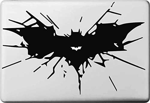 Vati Leaves Removable Creative Cartoon Batman Logo Decal Sticker Skin Art Black for Apple MacBook Pro Air Mac 13