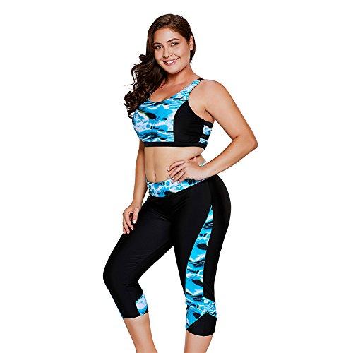 BAOBAO Womens Oceanic Print Two Piece Swimwear Sets Plus Size With Top and Capris Tankini - Halter Set Capri