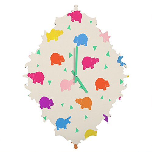 Deny Designs Kangarui, Happy Hippo Party, Baroque Clock, Medium by Deny Designs