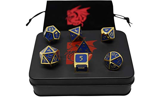 Delorins Goods Metal Polyhedral DND Dice 7 Die Set RPG Dice with Storage Bag and Tin Case for Dungeons and Dragons, Pathfinder and Other Role Playing Games (Blue and Gold)