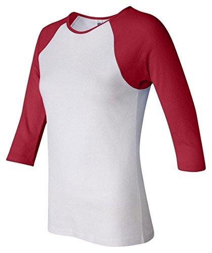 Bella + Canvas Womens Stretch Rib 3/4-Sleeve Contrast Raglan T-Shirt (B2000)- White/Red,Small