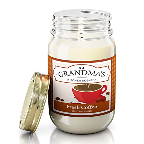 Fresh Coffee Scented Candles for Home | Non Toxic Long Lasting Soy Candles | Delicious Scent | Large 16 oz Mason Jar | Hand Made in The USA