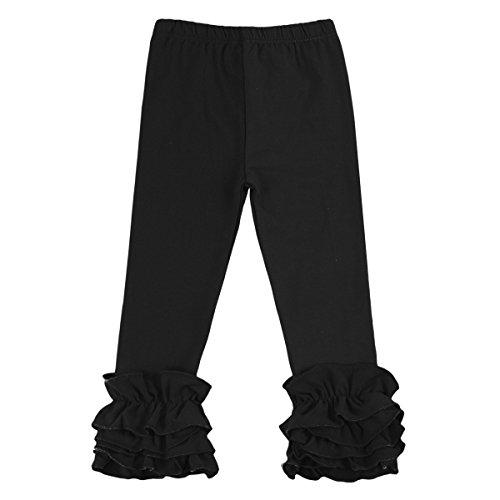 Little Girl's Double Icing Ruffle Leggings Toddler Girl Triple Cotton Boutique Elastic Waist Slacks Joggers Activewear Black 6-12 Months]()