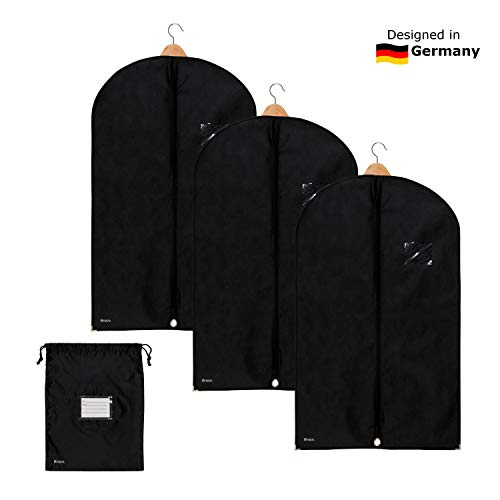 Bruce. 3 x Premium Garment Bag incl. Shoe Bag | 39.4 x 23.6 inches | Suit Bags for Travel and Storage | Breathable Bags for Suits, Jackets and Dresses (39.4 x 23.6 inches - 100 cm x 60 cm)