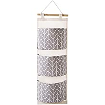 Wall Hanging Storage Bag,IEason 3 Grids Wall Hanging Storage Bag Organizer Toys Container Decor Pocket Pouch (Gray)