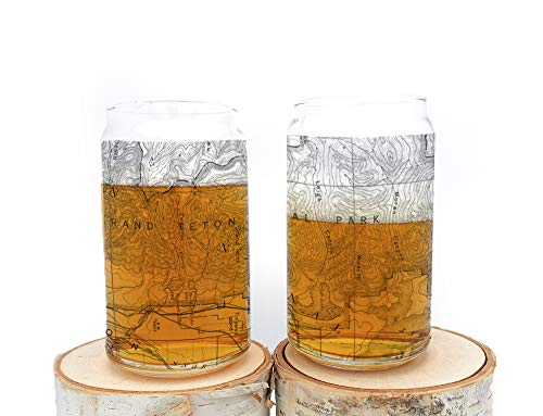 (Grand Teton National Park Pint Glass - Screen Printed Can Glass Set - 16oz)