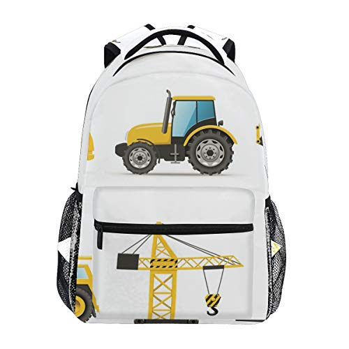 (CANCAKA Cartoon Style Heavy Machinery Truck Crane Digger Mixer Tractor Construction Lightweight School Backpack Students College Bag Travel Hiking Camping)