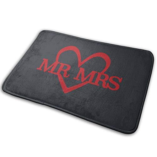 (LNUO-2 Indoor Outdoor Entrance Doormat Mr. Mrs. Heart Rug Floor Mats for Entry, Easy Clean)