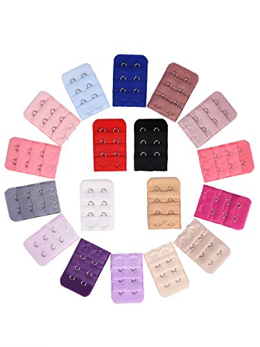 eBoot 18 Pieces Bra Strap Extender Bra Extension Straps, 3 Row 2 Hook, 18 Color ()