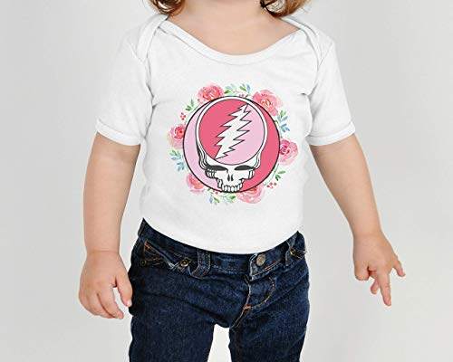 (Grateful Dead Steal Your Face Flowers Baby Onesie Bodysuit or Toddler Kids T-Shirt)
