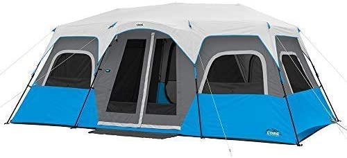 CORE Lighted 12 Person Instant Cabin Tent – 18 x 10