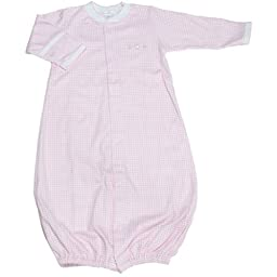 Kissy Kissy Baby Girls Homeward Gingham Embroidered Hearts Convertible Gown-Small