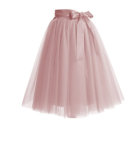 CoutureBridal Women's Princess Party Tulle Tutu Midi Skirt with Bow